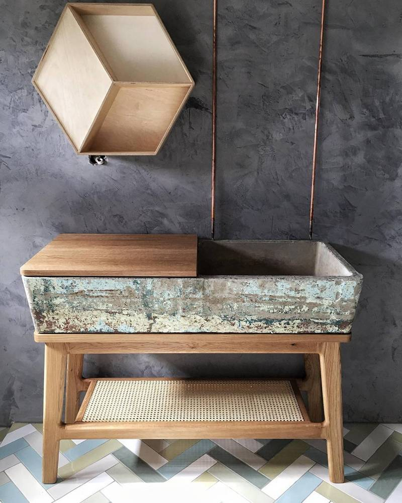Concrete Basin & Timber Bathroom Vanity by Curious Tales