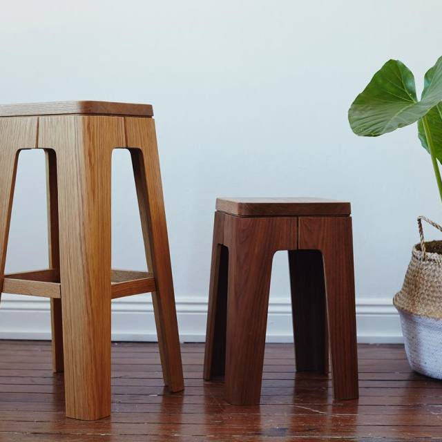 Molded plywood stools by Asher Abergel  this photo shothellip