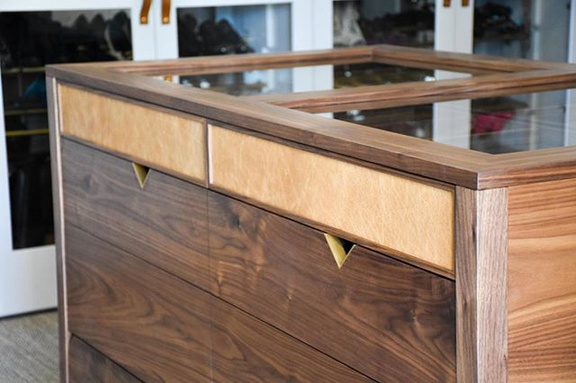 Leather, Brass and Walnut Drawer Unit