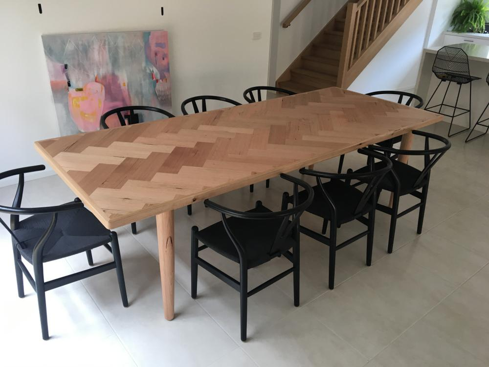Custom Herringbone Dining Table